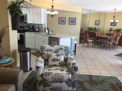 Spacious open concept living, kitchen & dining.