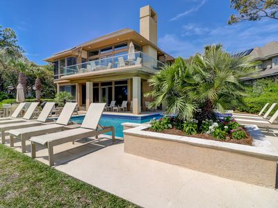Photo for Sea Pines oceanfront home w/ elevator, private pool, & direct beach access!