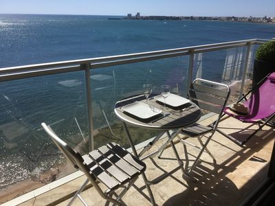 Photo for Beachfront apartment overlooking the bay of Sables d'Olonne