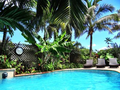 Photo for Secret Garden: Exotic Private Heated Pool, Gourmet Kitchen, BBQ, Close to Beach