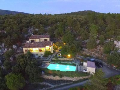 Photo for A detached villa with panoramic views, with heated pool and jeu-de-boules alley
