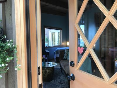 Welcome to our Studio~ Retracting Screen door to keep bugs out and fresh air in