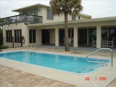 private pool with large covered patio, gas grill