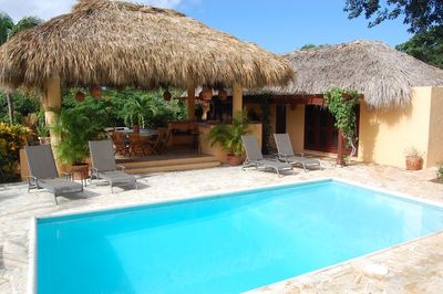 LARGE POOL AREA AND GUEST HOUSE