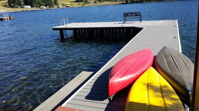 Dock with kayaks and swimming area.
