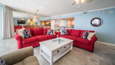 Open living area with ample seating and queen sleeper sofa; amazing views