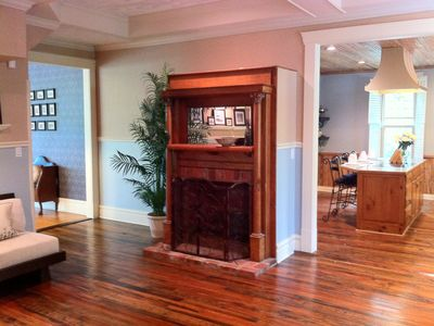 Living rm w/ fireplace, flat screen TV, Blu-ray player, iPad & Bluetooth stereo