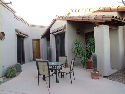 Courtyard entry makes for a great place for coffee, happy hour and eating.