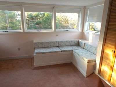 2nd Bedroom has full-size bed, quality mattress, attached half Bath, window seat