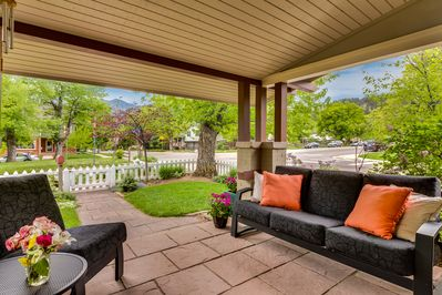 The front porch is ideal for sipping on your morning cup of coffee