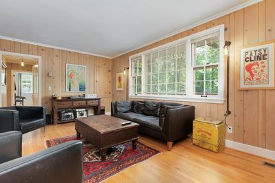 Spacious living room with entertainment center!