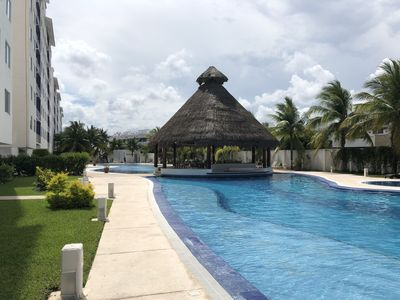 Pool and palapa view.