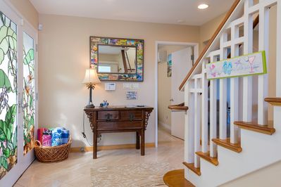 Entry way - bedrooms on the ground floor & the great room is up the stairs