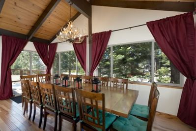 Long dinning table seats 14