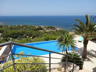 Photo for 600 sqm stunning villa c/w infinity pool, amazing view,location, air con, wifi