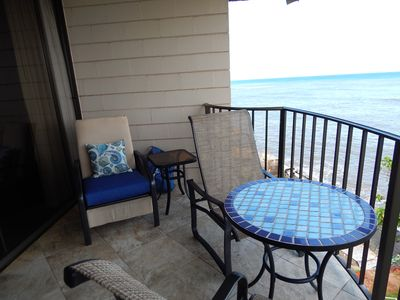 Enjoy morning coffee on your ocean front private lanai