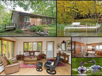 Photo for Lovely lakehouse on 40 acre peninsula, sand beach, lake view & all the amenities