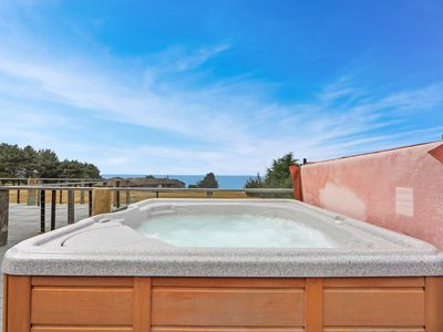Photo for Enjoy private hot tub & spectacular ocean views, 1 dog OK!