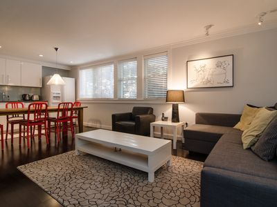 Rest comfortably in this one-bedroom apartment.  Ample seating.