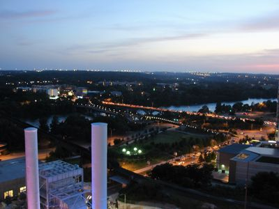 Night time view of Lady Bird Lake from your 16th floor living room