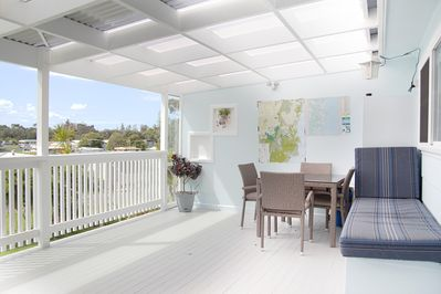 Private deck area with day bed