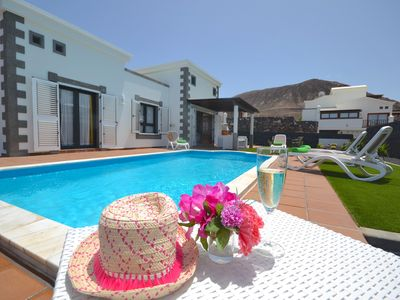Photo for BEAUTIFUL&FULL EQUIPPED 2 BEDROOMS VILLA  AC&WIFI& BBC+ SKY&HEATED POOL+ JACUZZI