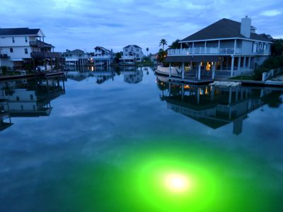 Our extra bright underwater fishing light draws in the big ones at night.