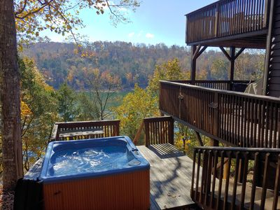 Relax in your hot overlooking the lake