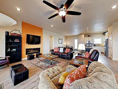 Photo for New Listing! Gulf Views, Screened Porch & Theatre Room - Walk to Beach!
