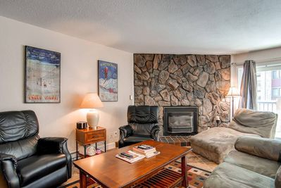 Put your feet up after your activities in the living area by the gas fireplace