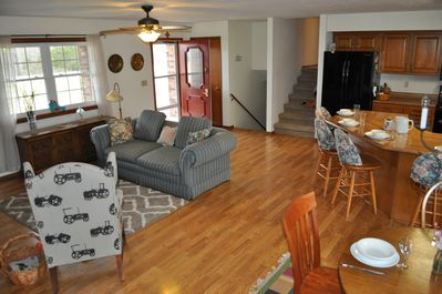 Front entry, Great room, dining table, island seating