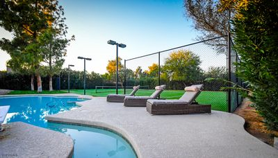 Lounge chairs for court side and poolside relaxation.