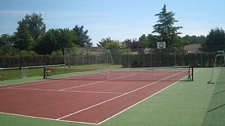 Tennis court - view up garden to villa