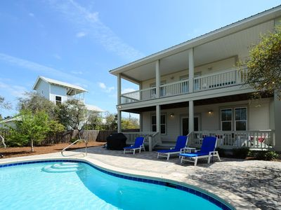 Photo for Private Heated Pool! Short Walk to the Beach! Weber Grill and Gulf Views!