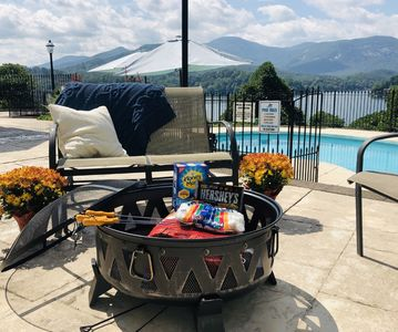 Patio Fire Pit - Fall, Smores and More.  Enjoy panoramic views while roasting smores from this picturesque setting.