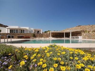 Photo for holiday vacation large villa rental greece, mykonos, elia beach, pool, internet wi-fi, cooling heating system, view, sho