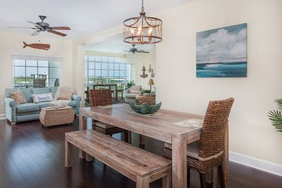 Relax in your coastal retreat in the largest unit with living room and den
