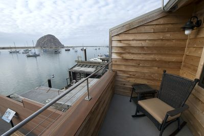 From the deck, you look across the bay to amazing views of the rock.