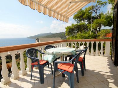 Photo for Two bedroom apartment with terrace and sea view Zavalatica, Korčula (A-4453-b)