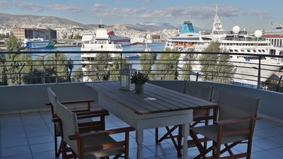 Photo for Chic 2 bedroom apartment, great views of Piraeus cruise port