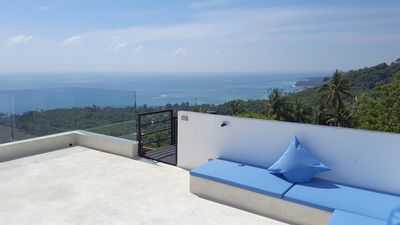 Photo for Villa with spectacular sea view, tropical garden & waterfall in Koh Samui