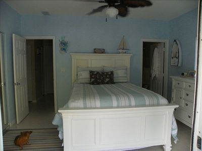 master bedroom and bath with satellite t.v. by Dish Network.