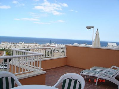 Photo for Mojacar: Apartment overlooking the sea, next to a brand new GOLF COURSE