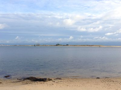 Look out over Sandy Point, a mile-long nature preserve island.