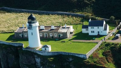 Aerial view of The Lighthouse Keepers Cottage on Davaar Island
