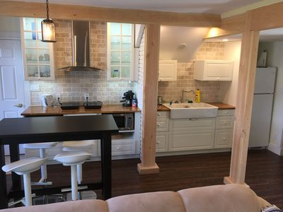 Newly renovated post and beam construction open plan kitchen in 2017