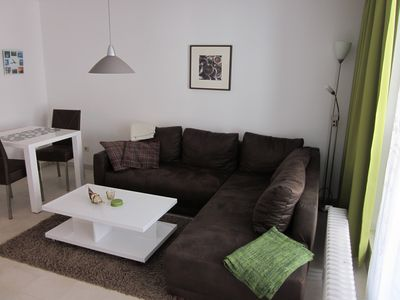 Photo for Modern apartment, 3 pers., Indoor pool, sauna, balcony, 1st row, 03.-05. July free!