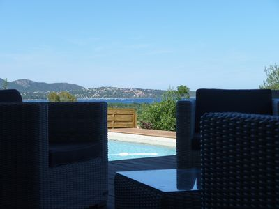 Photo for Contemporary villa, new with sea view and pool. area St cyprien pinarello
