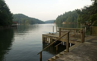 Beautiful Lake Summit, fed by Green River. Our swimming dock with diving board.