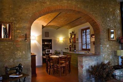 Arched walls, between the sitting room and the dining area.